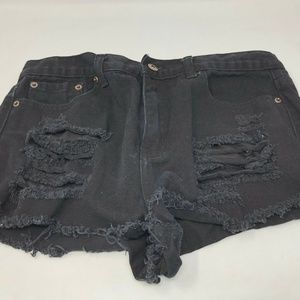 forever 21 black distressed cutoff jean shorts 29